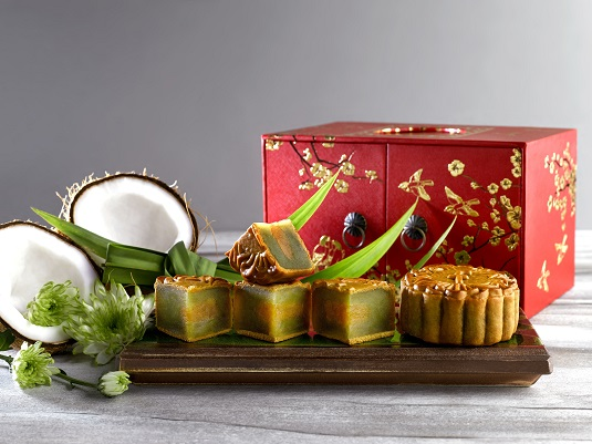 1Pandan with Coconut Baked Mooncakes