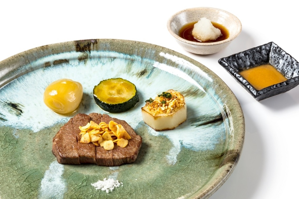 Japanese Wagyu Beef Fillet with Turnip Zuchinni and Simmered Deep-fried Shallot