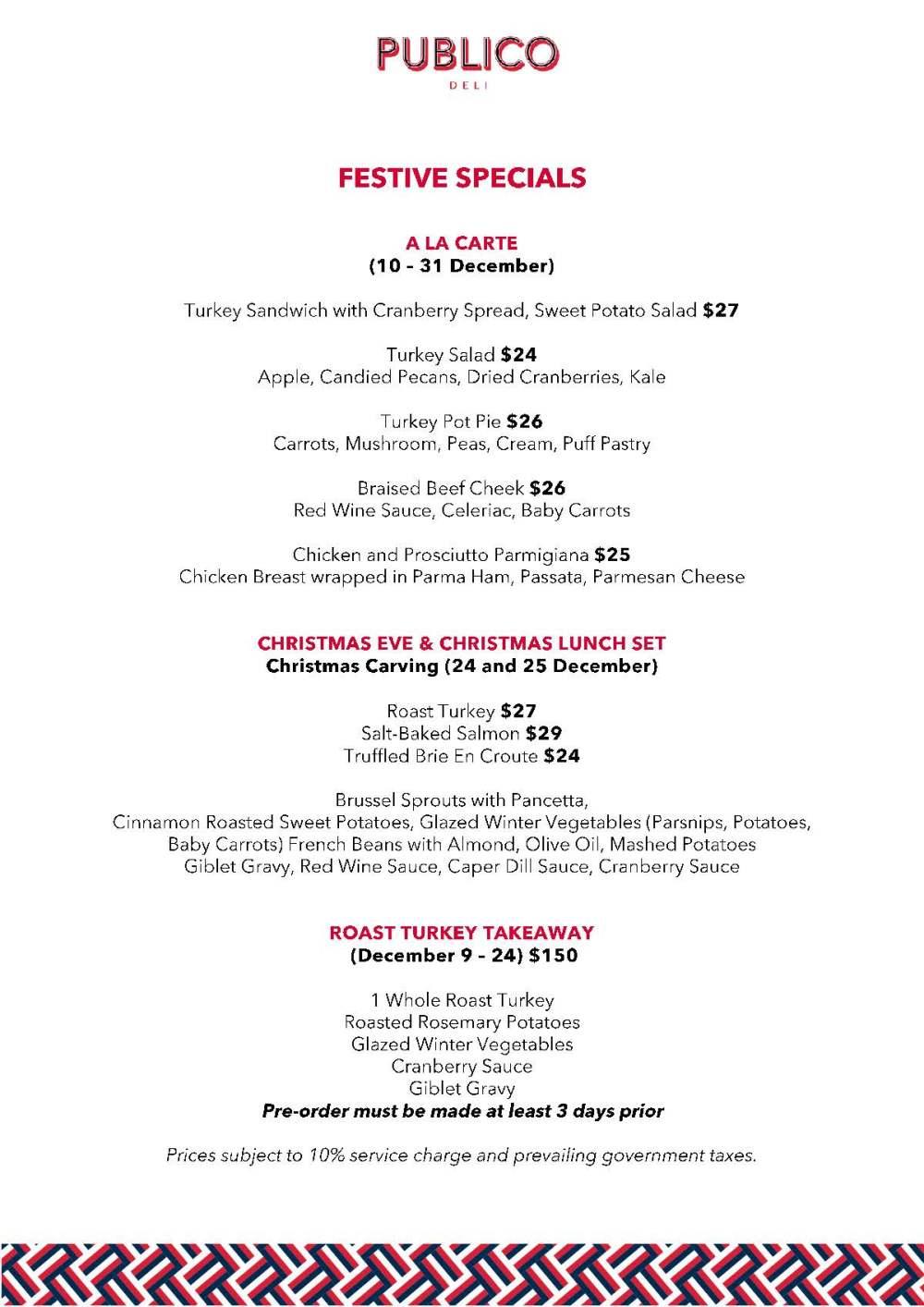 Publico Deli - Festive menu