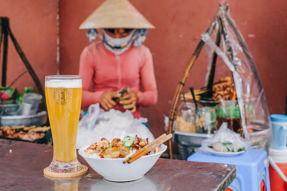 Pasteur Street Brewing Company - With Bun Thit Nuong Vendor on Street