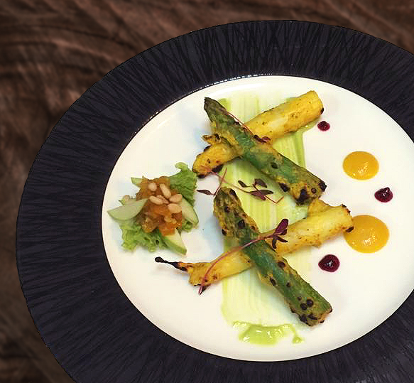 Tandoor Grilled White and Green Asparagus
