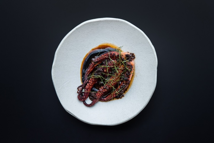 Blackwattle_Charred octopus, fennel, squid ink , XO & red vinegar