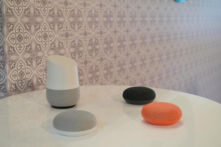 Google Home and Google Home Mini on display
