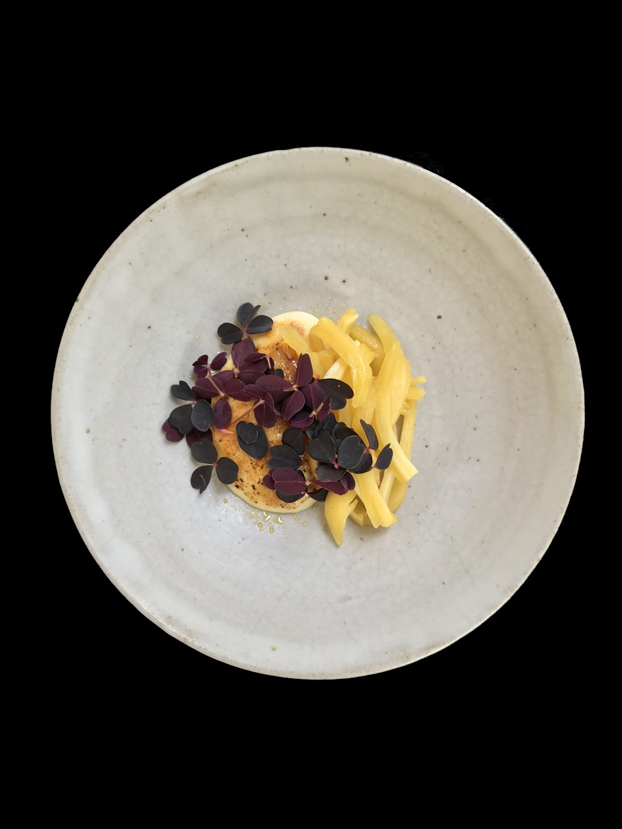 Blackwattle,jackfruit custard, oxalis