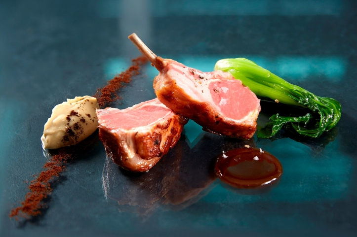 sous-vide and pan-fried Queensland farm rack of lamb roasted eggplant puree bok-choy coffee powder_credits solostepstudio