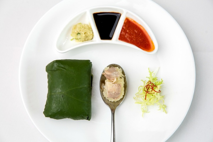 yan Steamed Hainanese Chicken Sticky Rice wrapped in Lotus Leaf