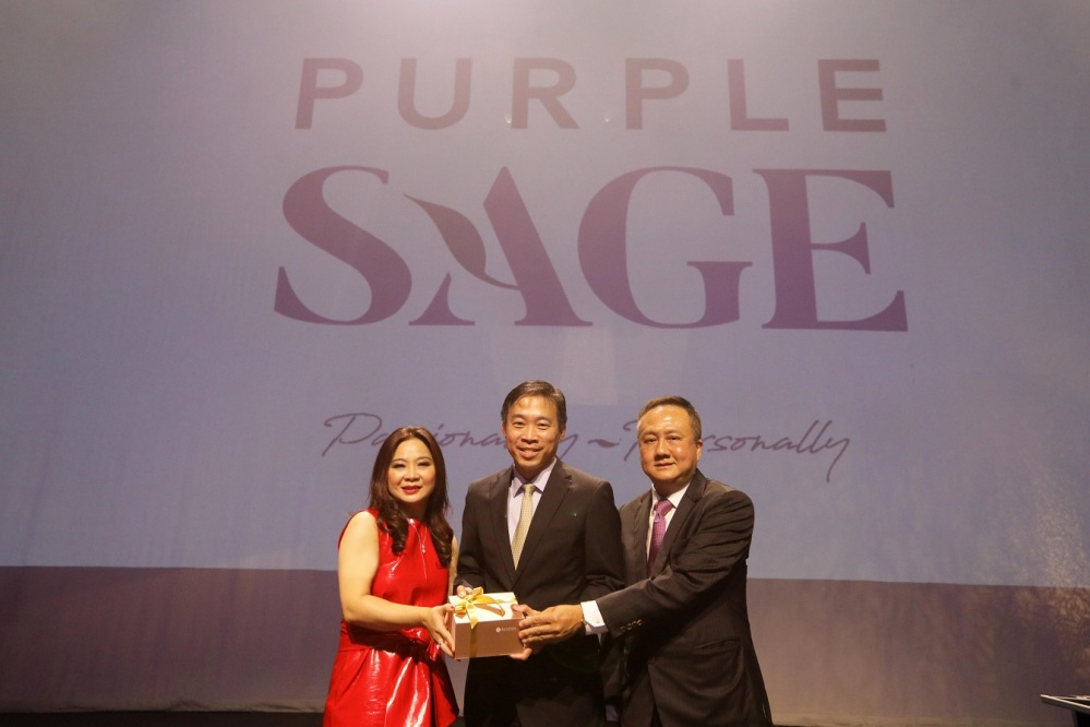 Ms Chris Loh (Co-owner and Creative Director of Purple Sage), Mr Png Cheong Boon (CEO of Enterprise Singapore), Mr Alan Tan (Co-owner and Managing Director of Purple Sage)