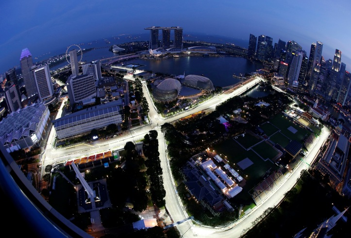 The Marina Bay street circuit is lit up ahead of the Singapore F1 Grand Prix Night Race in Singapore