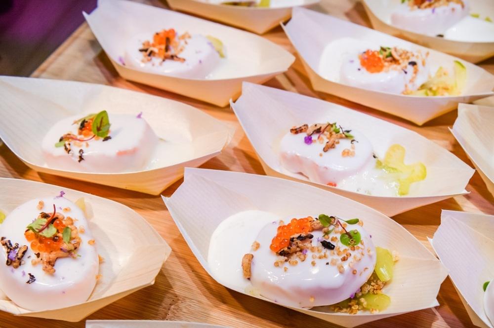 Salmon Cauliflower with Yuzu Foam in Opeh Leaf Container