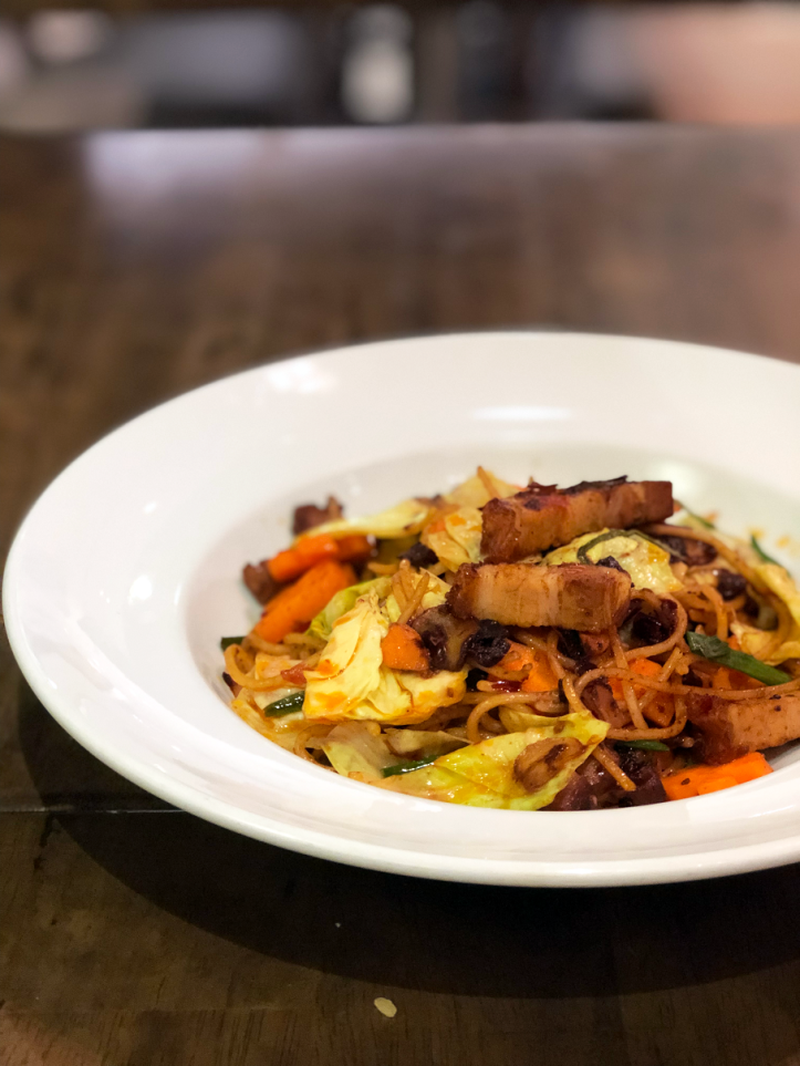 mala pasta with roasted pork belly