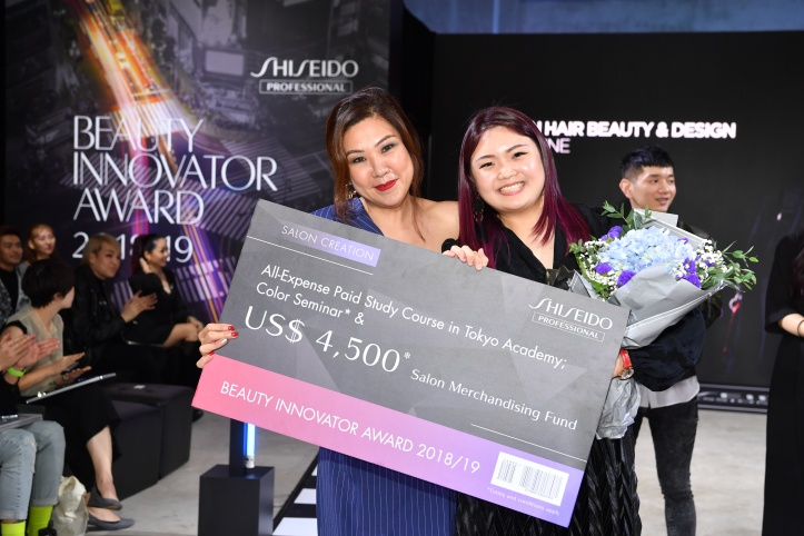 shiseido professional bia 2018-19 - grand prix winner - salon creation - bloodline by ms deslyn koh, e-jean hair beauty & design with jane chow, brand general manager of shiseido p