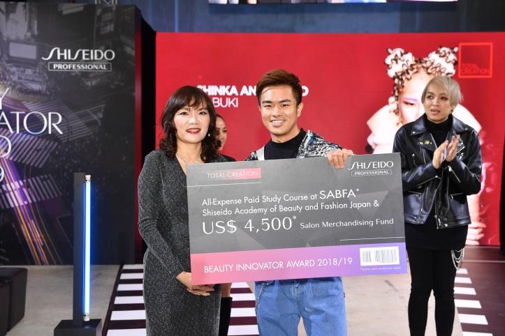 shiseido professional bia 2018-19 - grand prix winner - total creation - kabuki by mr kenzo how, shinka ang mo kio with jessica fun, managing director of shiseido singapore
