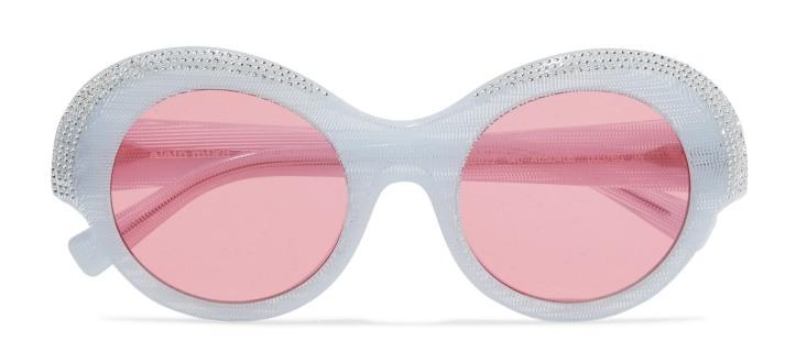 + Alain Mikli Roselyn round-frame crystal-embellished acetate sunglasses