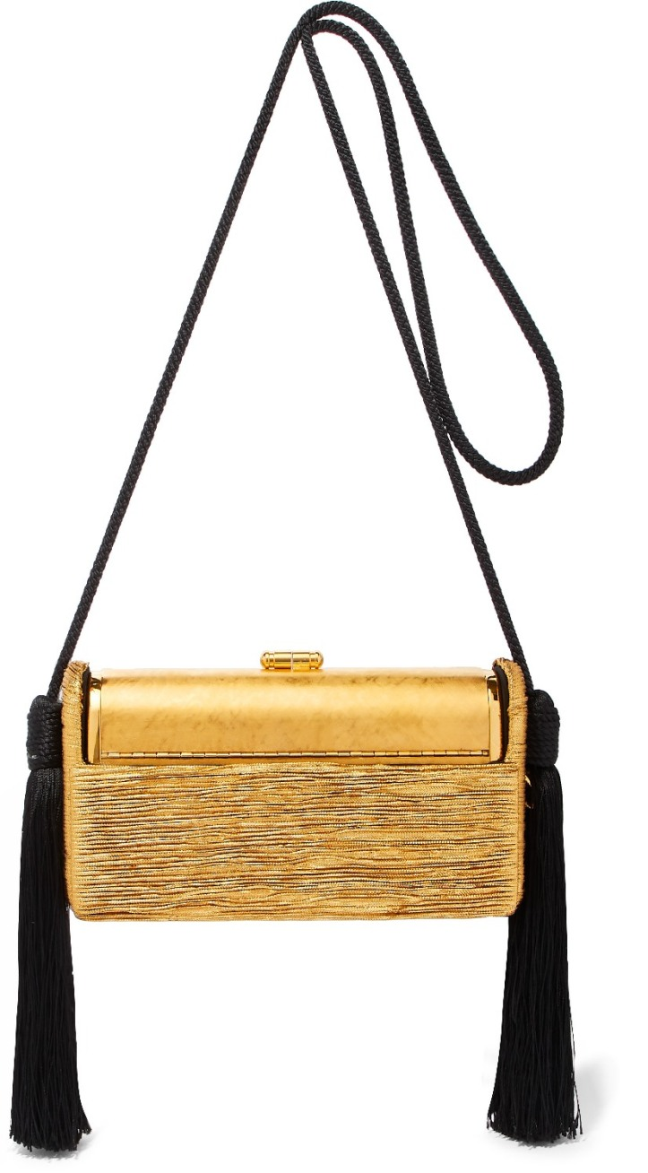 Régine tasseled pleated Lurex shoulder bag