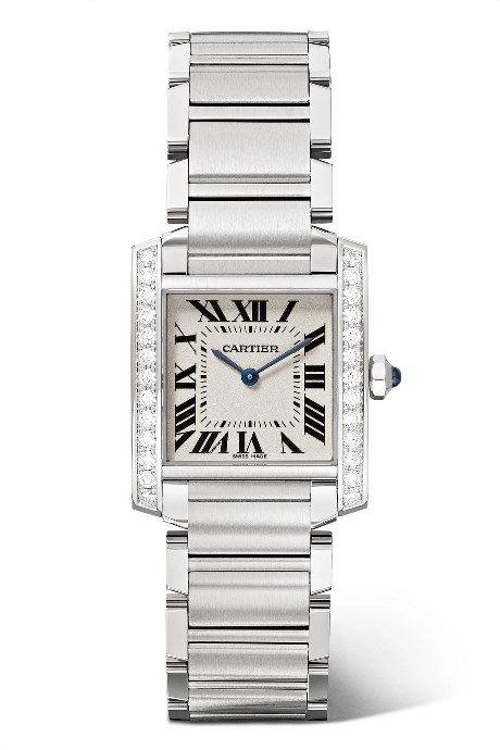 CARTIER_TANK FRANCAISE 25.5MM SMALL STAINLESS STEAL AND DIAMOND WATCH_COURTESY OF NET-A-PORTER