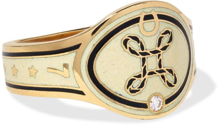 True Love 18-karat gold, diamond and enamel ring
