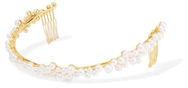 Gold-plated Swarovski pearl headband