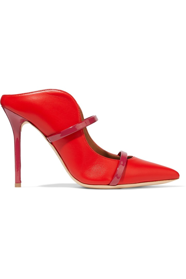 MALONE SOULIERS_MAUREEN 100 PATENT TRIMMED LEATHER MULES_COURTESY OF NET-A-PORTER
