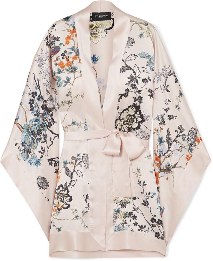Floral-print silk-satin kimono