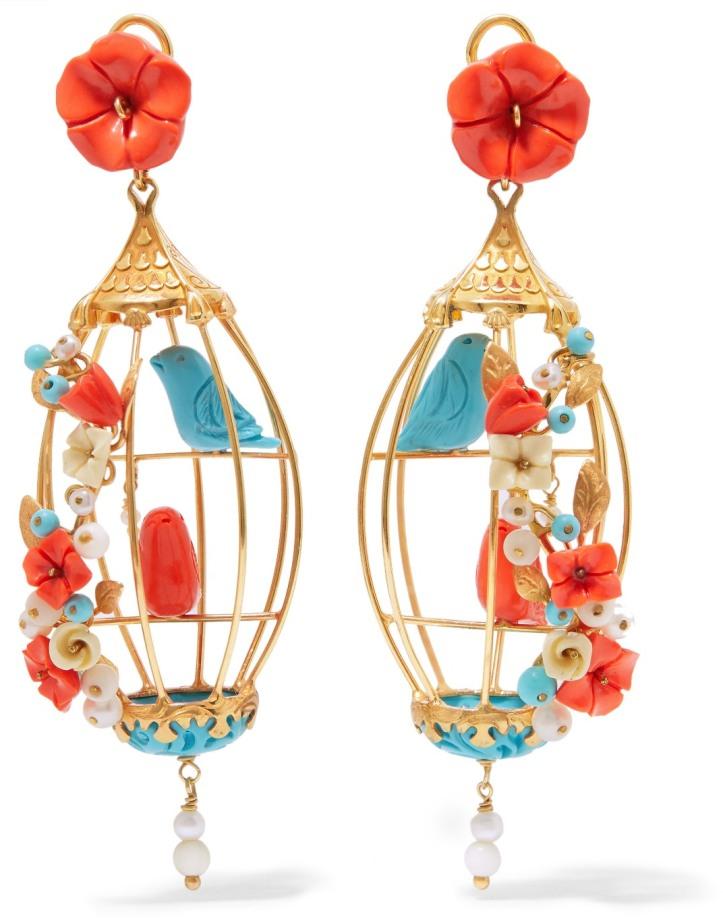 Lovebirds gold vermeil multi-stone earrings