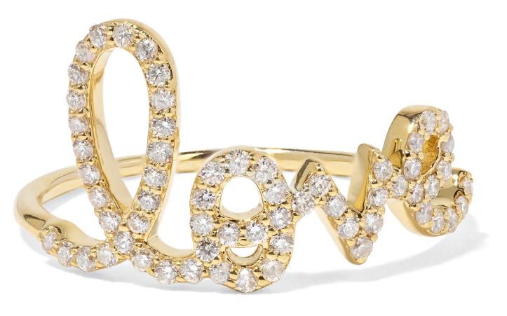 Large Love 14-karat gold diamond ring