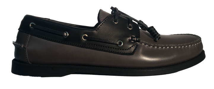 Dual Tone Leather Boat Shoes (Grey-black) ($89.95)