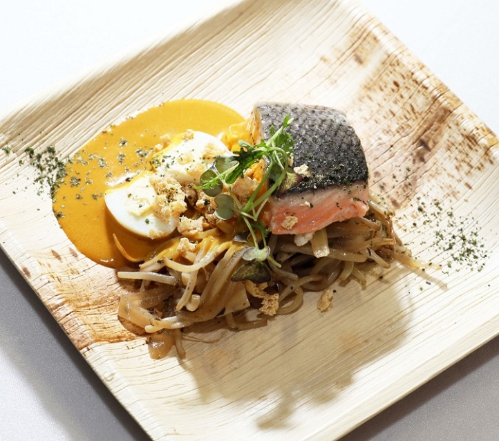 Slow Cooked Norwegian Salmon with Laksa Emulsion, Bean Sprout, Quail Egg and Deep Fried Beancurd