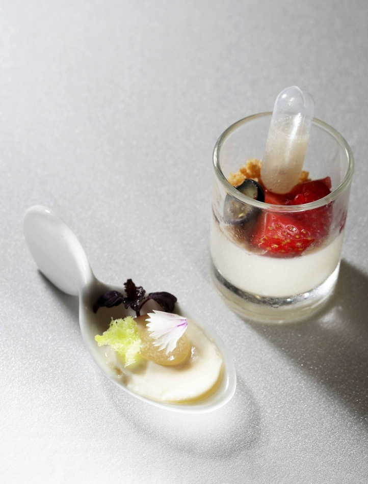 Soya Bean Explosion, Chilled Soya Curd with Lemongrass Syrup