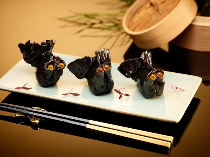 Steamed Prawn and Black Truffle Dumpling in Squid Ink Skin
