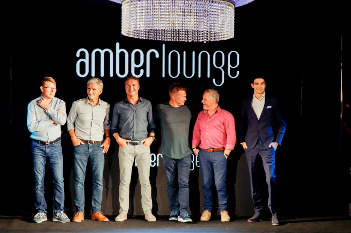 Amber Lounge Fashion Show - Mika Hakkinen, Damon Hill, David Coulthard, Johnny Herbert, Mika Salo and Esteban Ocon