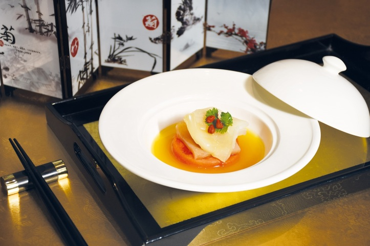 Double-Boiled Fish Maw with Papaya Superior Stock