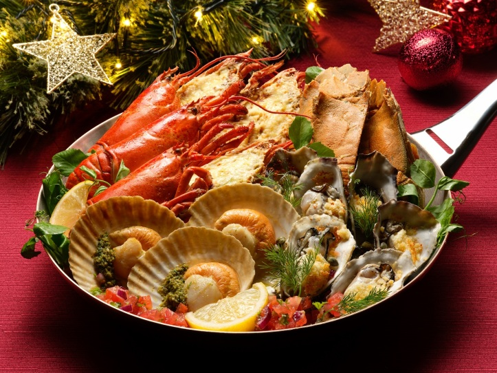 Lobster Thermidor; Baked Oysters; Grilled Crayfish with Lime Butter; Grilled Scallops with Salsa Verde (1)