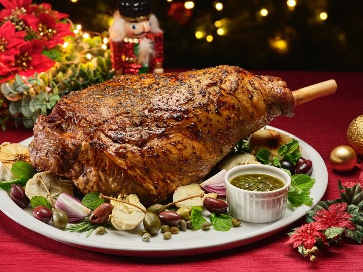 Rosemary & Garlic Roast Lamb Leg (Bone-In) with Chimichurri, Artichokes & Capers