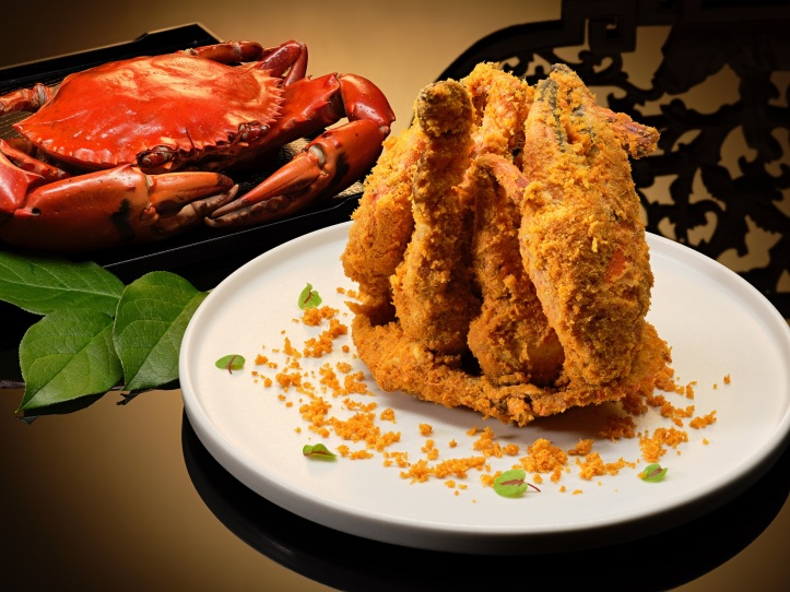 Deep-Fried Sri Lankan Crab with Chicken Floss and Salted Egg