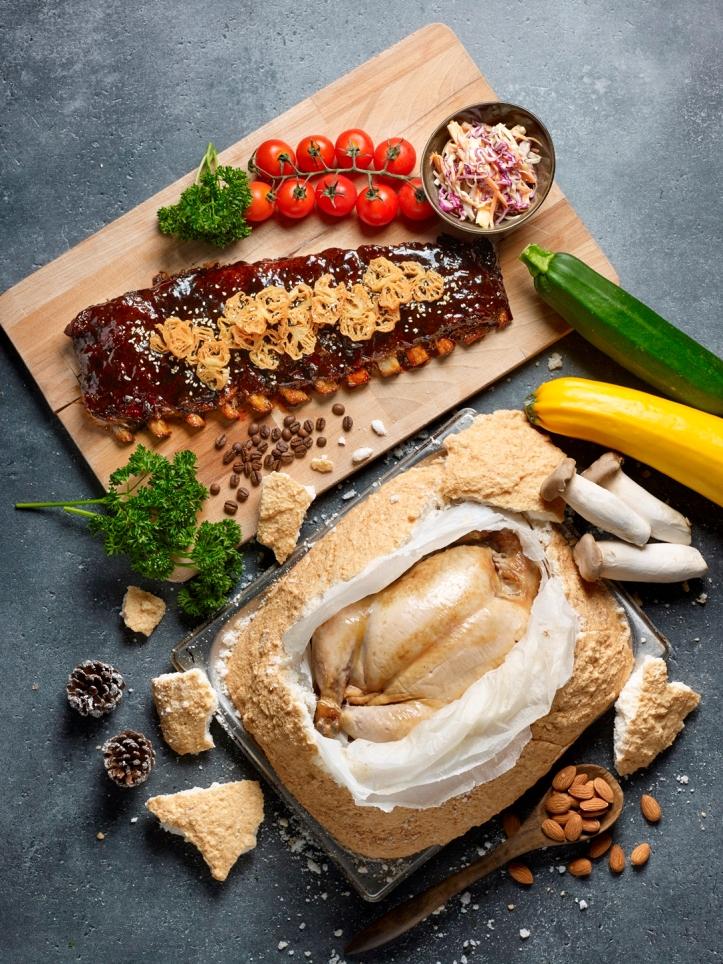 Hotel Indigo Singapore Katong - Festive 2019 - 'Kopi C' Flavoured BBQ Pork Spareribs and Hakka Salt-Baked Chicken with Stuffing - Baba Chews