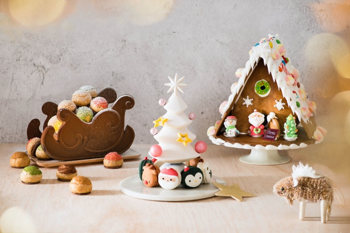Macaron Tree with Choux Sleigh and Gingerbread House