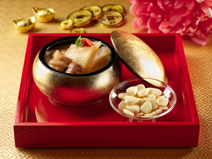 Double-Boiled Fish Maw with Cantharellus Mushroom in Almond Superior Stock