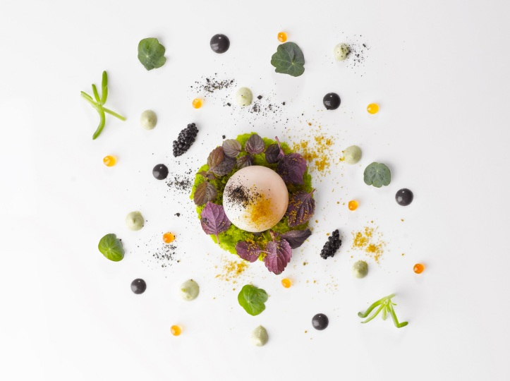 il Cielo New Year's Eve Menu - Uova Japanese Squid in Egg Style, Ikura, Caviar, Seaweed Crumble, Squid Ink Aioli Sauce