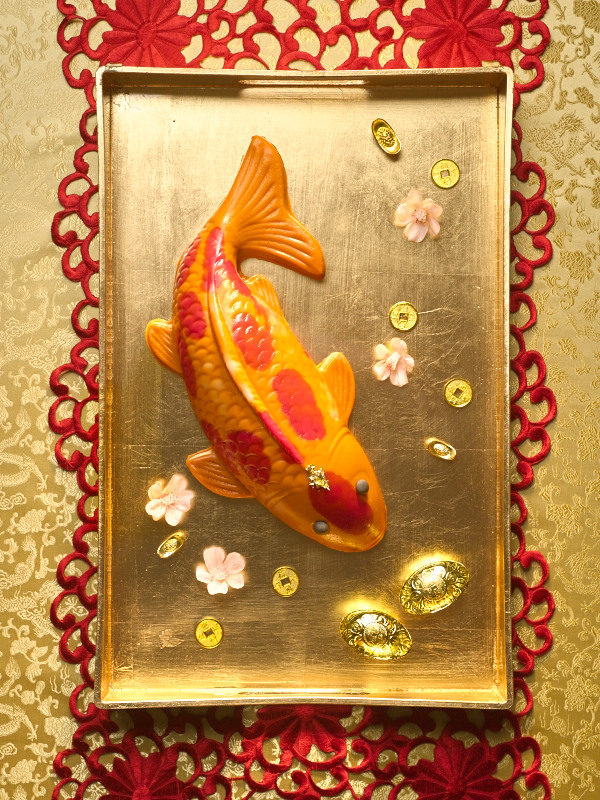 Koi Fish with Fresh Mango Pudding