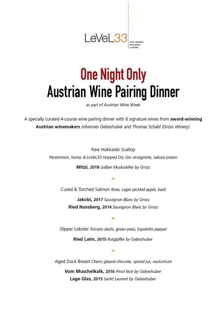 LeVeL33 Austrian Wine Pairing Dinner Menu