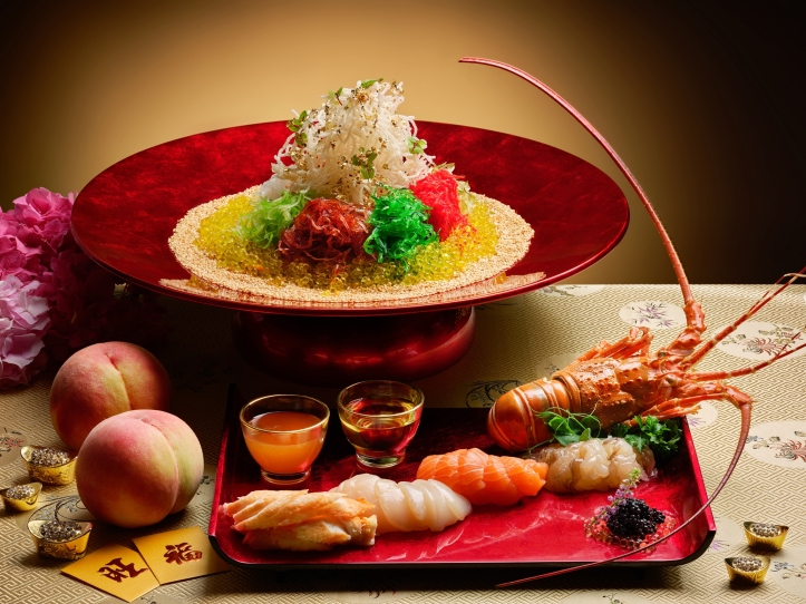 Lobster, Alaskan Crab, Scallop, Salmon _ Caviar with White Peach Dressing Yu Sheng