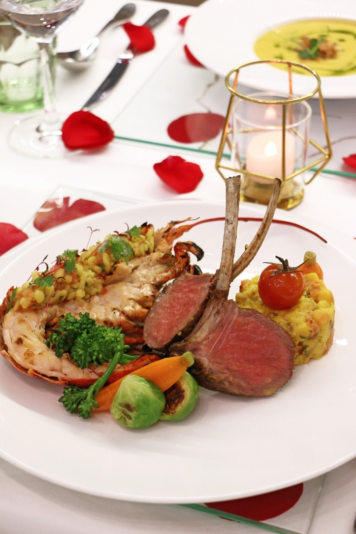 Mon Bijou Oven-roasted Australian Lamb Rack, Grilled Boston Lobster with Honey Mango Salsa