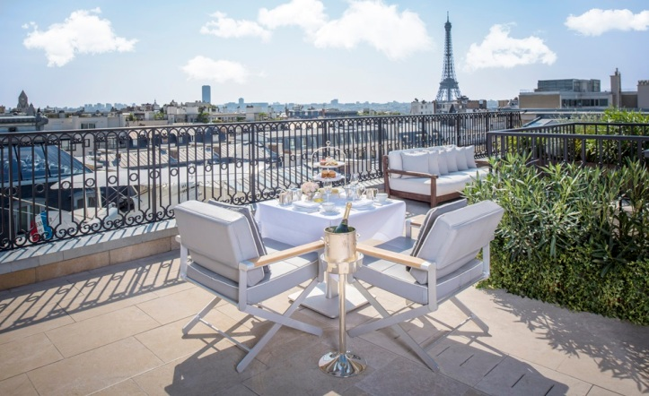 Daytime Terrace of Rooftop Garden Suite at The Peninsula Paris