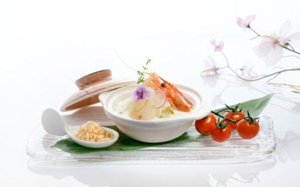 Poached Rice with Seafood in Superior Broth served with Crispy Rice