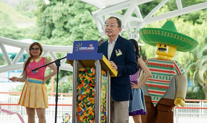 C.S. Lim giving a heartfelt welcome to guests at re-opening of LEGOLAND Malaysia Resort