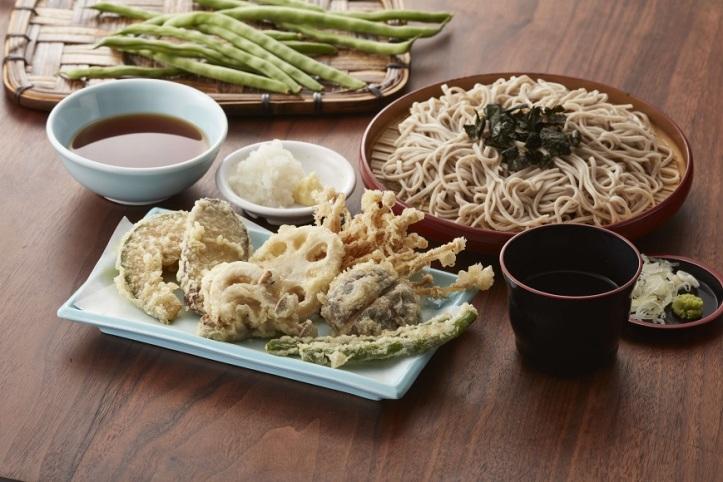 Tenya_Mushroom Vegetables Tempura Cold Soba (Shiitake Mushroom, Shimeiji Mushroom, Enoki, Sweet Potato, Lotus Root, Pumpkin, and French Beans)