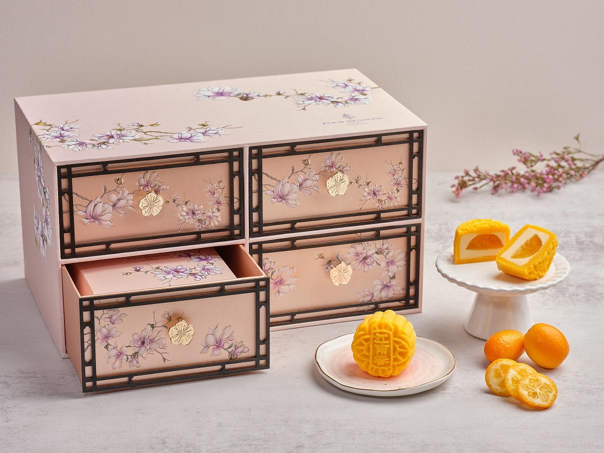 Four Seasons Hotel Singapore - Peach Blush Gift Box with Kumquat and Lemon Snowskin Mooncake